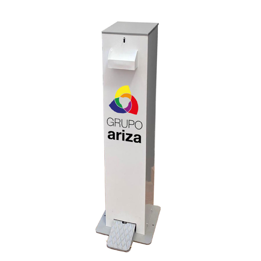 Dispensador-de-gel-desinfectante-con-pedal personalizable