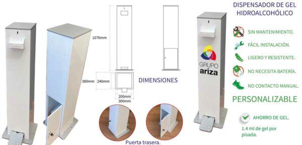Características del Dispensador de gel con pedal Ariza